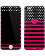 Polka Dots and Stripes Heart in Pink Apple iPod Skin