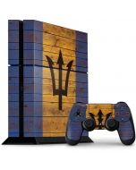 Barbados Flag Dark Wood PS4 Console and Controller Bundle Skin