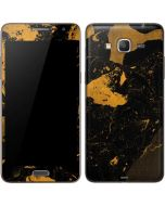 Black and Gold Scattered Marble Galaxy Grand Prime Skin