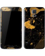 Black and Gold Scattered Marble Galaxy S5 Skin