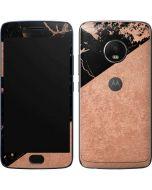 Black and Rose Gold Marble Split Moto G5 Plus Skin