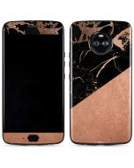Black and Rose Gold Marble Split Moto X4 Skin