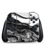 Black and White Marble Ink Nintendo Switch Joy Con Controller Skin