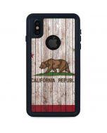 California Flag Dark Wood iPhone XS Waterproof Case