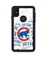 Chicago Cubs - White Cap Logo Blast iPhone X Waterproof Case