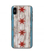 Chicago Flag Dark Wood iPhone X Skin
