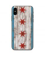 Chicago Flag Dark Wood iPhone XS Skin