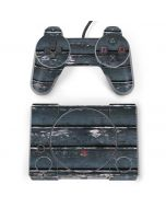 Chipped Blue Wood PlayStation Classic Bundle Skin