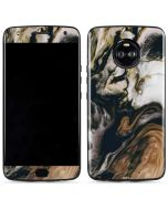 Copper and Black Marble Ink Moto X4 Skin