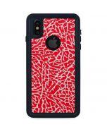 Elephant Print Red iPhone XS Waterproof Case