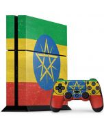 Ethiopia Flag Distressed PS4 Console and Controller Bundle Skin