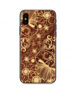 Floral Wood Mahogany iPhone X Skin