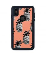 Gray Scale Pineapple iPhone XS Waterproof Case