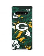 Green Bay Packers Tropical Print Galaxy S10 Plus Clear Case