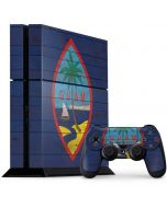 Guam Flag Dark Wood PS4 Console and Controller Bundle Skin