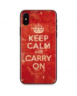 Keep Calm and Carry On Distressed iPhone X Skin