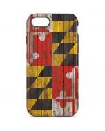 Maryland Flag Dark Wood iPhone 8 Pro Case