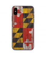Maryland Flag Dark Wood iPhone X Skin