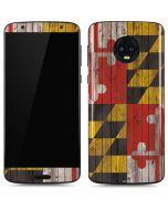 Maryland Flag Dark Wood Moto G6 Skin