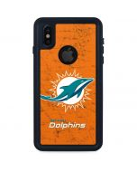 Miami Dolphins Distressed- Orange iPhone X Waterproof Case