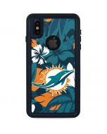Miami Dolphins Tropical Print iPhone X Waterproof Case