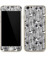 Mickey Mouse Cityscape Sketch iPhone 6/6s Skin