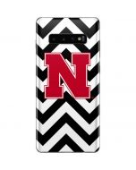 Nebraska Black Chevron Print Galaxy S10 Plus Skin