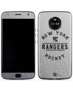 New York Rangers Black Text Moto X4 Skin