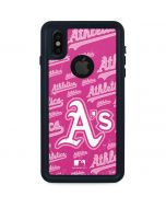 Oakland Athletics - Pink Cap Logo Blast iPhone XS Waterproof Case