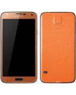 Orange Carbon Fiber Galaxy S5 Skin