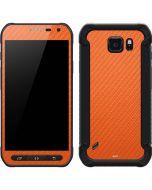 Orange Carbon Fiber Galaxy S6 Active Skin