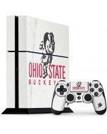 OSU Ohio State Buckeyes Light Grey PS4 Console and Controller Bundle Skin
