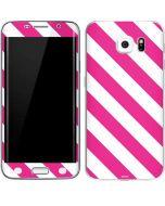 Pink and White Geometric Stripes Galaxy S6 Edge Skin