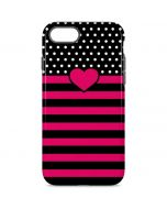 Polka Dots and Stripes Heart in Pink iPhone 8 Pro Case
