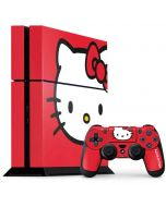 Hello Kitty Cropped Face Red PS4 Console and Controller Bundle Skin