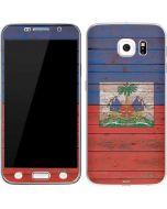 Haiti Flag Dark Wood Galaxy S7 Skin