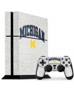 University of Michigan Heather Grey PS4 Console and Controller Bundle Skin