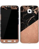Black and Rose Gold Marble Split Galaxy S6 Skin