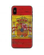 Spain Flag Dark Wood iPhone X Skin