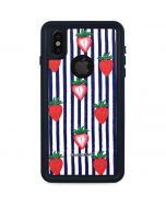 Strawberries and Stripes iPhone XS Waterproof Case