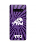 TCU Horned Frogs Mascot Swirl Galaxy S10 Plus Skin