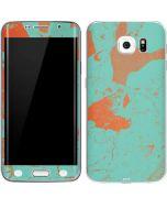Turquoise and Orange Marble Galaxy S6 Edge Skin