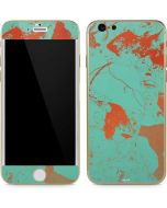 Turquoise and Orange Marble iPhone 6/6s Skin