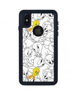 Tweety Super Sized Pattern iPhone XS Waterproof Case