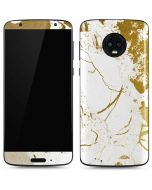 White Scattered Marble Moto G6 Skin