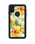Yellow Hibiscus iPhone XS Waterproof Case