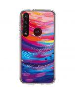 Rainbow Wave Brush Stroke Moto G8 Plus Clear Case