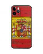 Spain Flag Dark Wood iPhone 11 Pro Skin