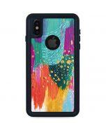 Turquoise Brush Stroke iPhone X Waterproof Case