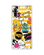 Tweety and Sylvester Striped Patches Galaxy Note 10 Clear Case